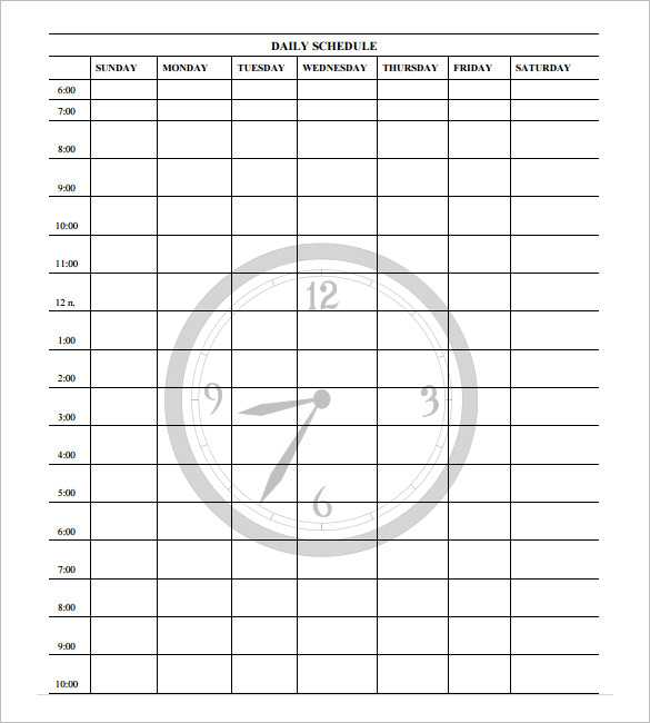 one day schedule template