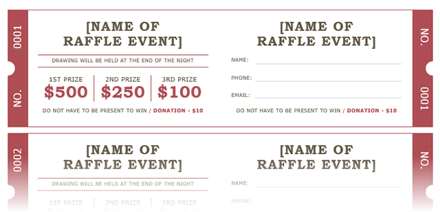 Free Numbered Raffle Ticket Template Unitedijawstatescom - Numbered event ticket template free