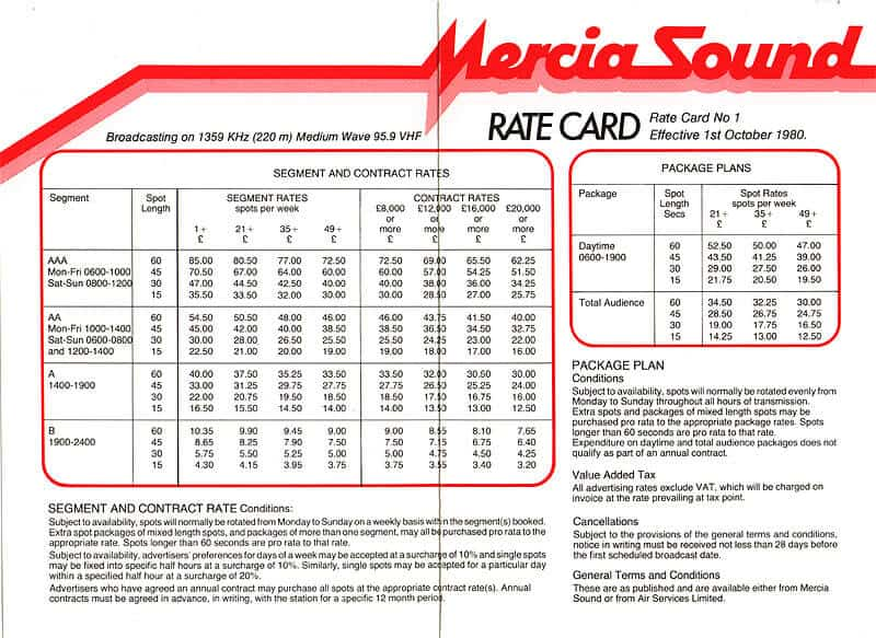 Rate Card Templates - Word Templates Docs
