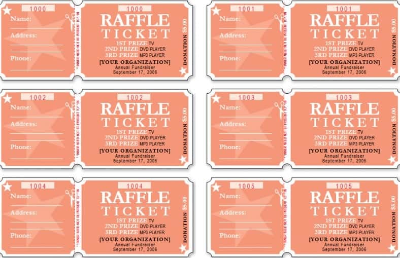 raffle ticket templates word templates docs. Black Bedroom Furniture Sets. Home Design Ideas