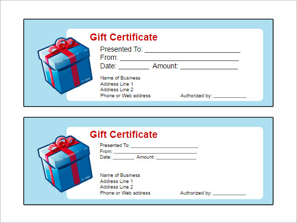 Gift Certificate Templates - Word Excel Formats