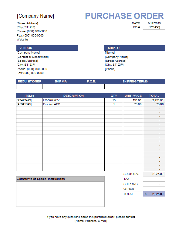 8  purchase order templates word excel