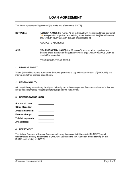 Loan Agreement Templates - Word Excel Formats