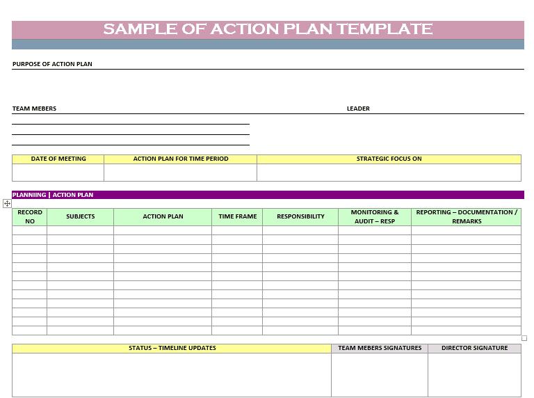 Action Plan Templates - Word Templates Docs