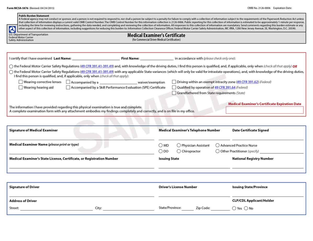 certificate medical dot physical forms dmv template cdl certification templates pa doctors word formats form sample mcsa 5876 universal