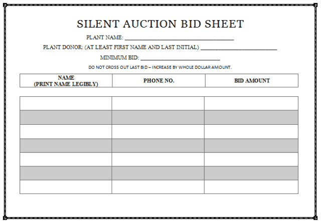 11 silent auction sign-up sheet templates