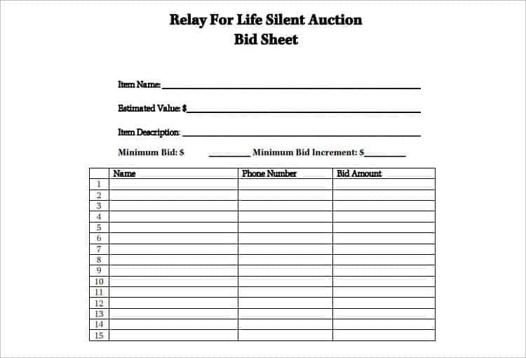 6  silent auction bid sheet templates
