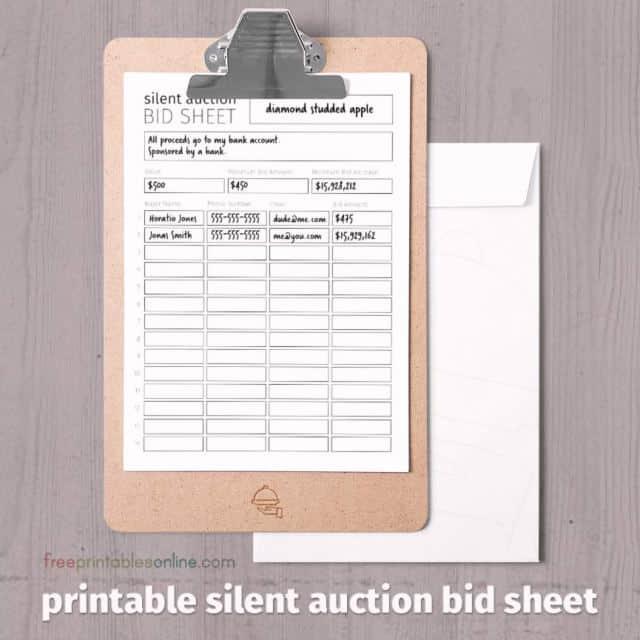 6  silent auction bid sheet templates