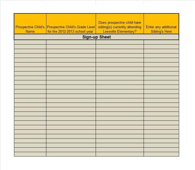 9+ Free Sign-Up Sheet Templates - Word Excel Formats