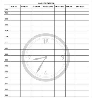 picture about Free Daily Schedule Template known as 24+ Free of charge Each day Timetable Templates Day by day Planners Phrase