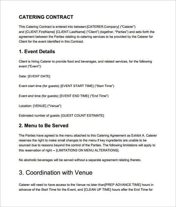 6 catering contract templates word pdf