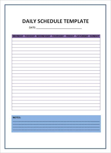 photo about Free Daily Schedule Template named 24+ Totally free Day by day Program Templates Every day Planners Term