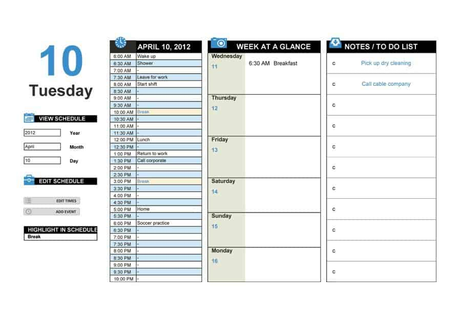 Day Schedule Template from www.wordtemplatesdocs.org
