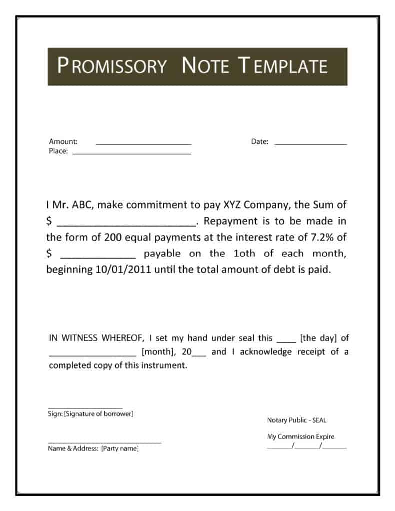 12 promissory note templates samples in microsoft word. Black Bedroom Furniture Sets. Home Design Ideas