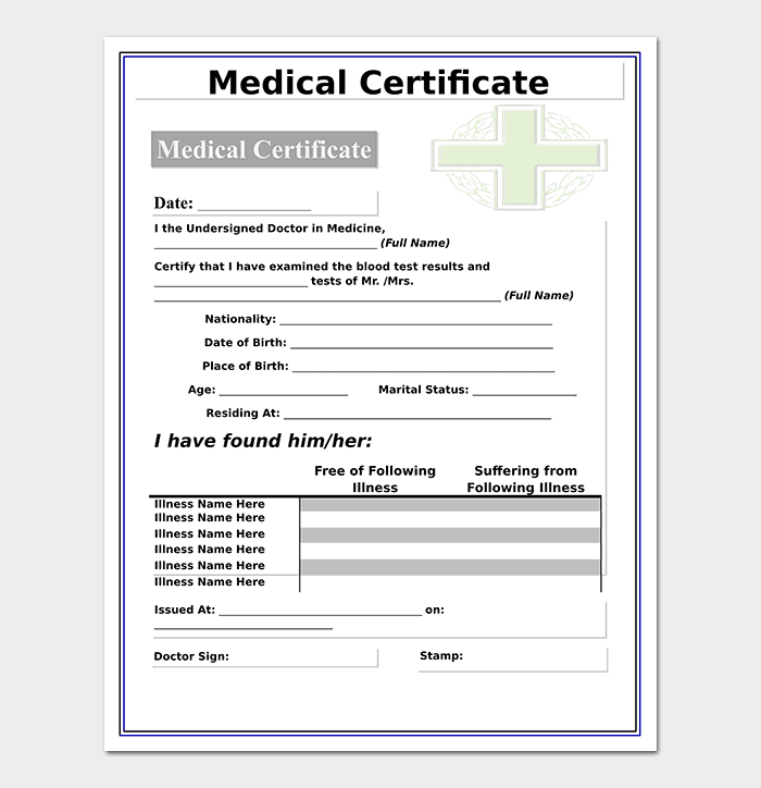 certificate medical template templates doctor simple doctors word samples certificates formats order