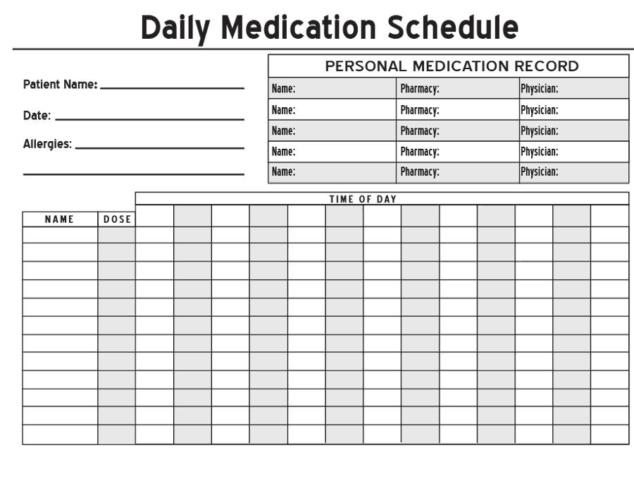 Magic image within daily medication chart template printable