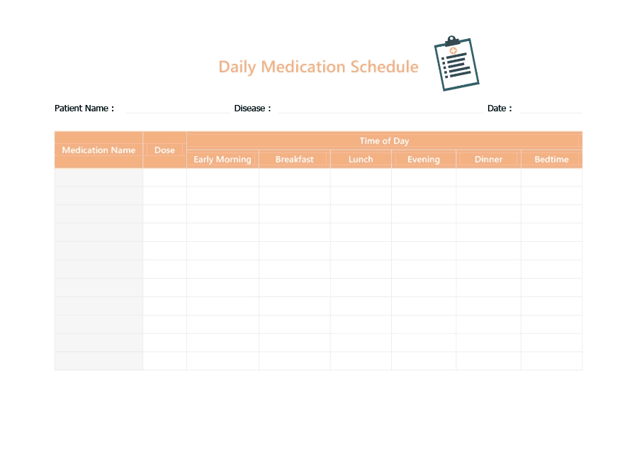 11  daily medication schedule templates